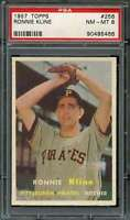 1957 TOPPS #256 RON KLINE PSA 8 PIRATES NICELY CENTERED  *DS8957