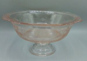 HTF Rare Pink Recollection (Madrid) Indiana Glass Footed Bowl