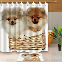 Cute Pomeranian Dog Shower Curtain Set Waterproof Fabric & 12 Hooks 71Inches