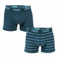 Men's Puma Striped 2 Pack Stretch Cotton Boxer Shorts in Blue