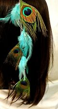 Peacock Eye Feather Clip In Feather Extension For Hair Beautiful aqua Long Boho