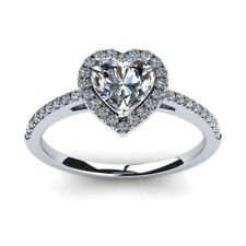 Solid 14K White Gold Size 5 6 7 Heart Cut 0.70 Ct Diamond Ladies Engagement Ring