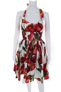 Dolce & Gabbana  Womens Cotton Floral Print Halter Dress White Red Size 38