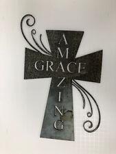 Metal wall art- Amazing Grace cross