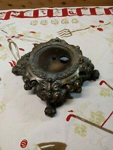 "VTG Ornate Cast Metal Table Lamp GWTW GOLD  Base Part 8 "" W 3 1/2"" H  4"" Fitter"