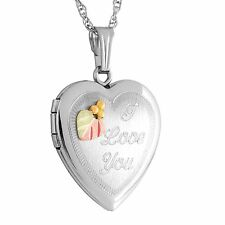 Black Hills Gold heart photo picture locket silver womens 'I Love You' pendant