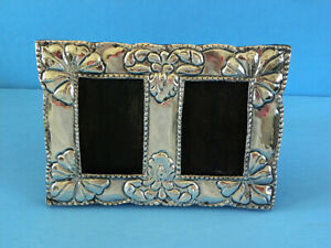 Vintage Peru 925 Sterling Silver & Wood Double Picture Frame Hand Worked