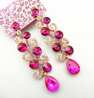 Betsey Johnson Fuchsia Crystal Rhinestone Leaf Drop Dangle Earrings