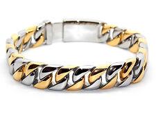 Hombre Nuevo diseño de acero inoxidable Pulsera de oro y plata plateado