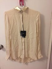 Monika Chiang Ivory Blouse With Gold Collar Size Xs
