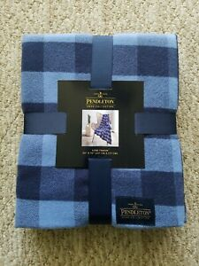 NEW PENDLETON HOME ROB ROY Blue Plaid DESIGN LUXE THROW BLANKET 50X70 NWT