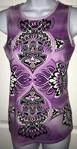 ATHLETA Mandala Print Yoga Tank Orchid Black Purple White Size XS EUC