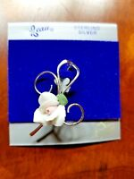 BEAU Pin VINTAGE STERLING SILVER ROSE BROOCH 925 JEWELRY ORIGINAL CARD VTG