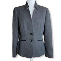 Tahari ASL Black and Gray Tweed 2-Button Blazer Jacket Womens Sz 8