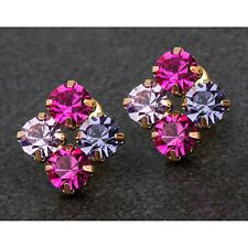 Crystal Stud Earrings - Gold Plated Equilibrium 279347 - Purple Pink Cluster
