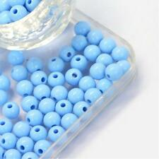 200 Pale Blue Opaque Acrylic Round Beads 6mm X 5.5mm Hole 2mm P00135t