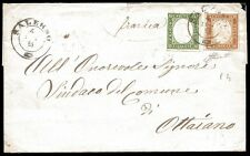 SARDEGNA/NAPOLI 1863 - 5 c. + 10 c. n. 13E + 14E SALERNO p. 4 € 330