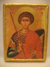 Saint George Greek Eastern Orthodox Religious Icon Art on Aged Pine Wood Plaque