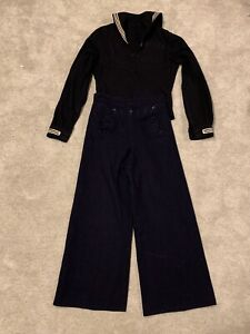 Vintage Navy Sailor pants 30R Wide leg High waist Wool With Jacket S? READ