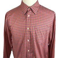 Eddie Bauer Classic Fit Mens XL Long Sleeve Button Front Shirt Peach Purple