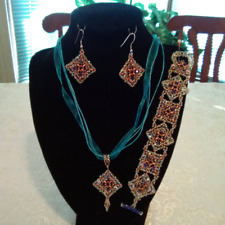 Ooak Handmade Beadwoven Copper and Blue Necklace, Bracelet and Earrings Set