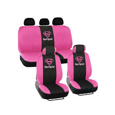 Brand New DC Comics Super-Girl Pink Front and Back Car Seat Covers Full Set