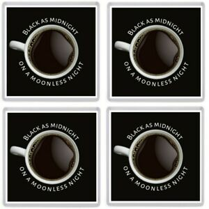Black as Midnight Coffee Coaster Set. Inspired by Twin Peaks. Dale Cooper