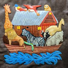 "Vtg Noah's Ark Metal Wall Plaque Bible Folk Art Outsider 17"" x 17"" Animals Boat"