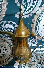 vtg ISLAMIC ARABIC COFFEE POT PITCHER Dallah Turkish Brass engrave ornate signed