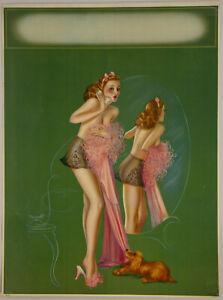 Fine 1940s Art Deco Billy Devorss Pin Up Calendar Print Cheesecake A Party Line