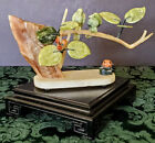 Asian Abalone Jade & Jadeite Coral Carved Birds on a limb exquisite 1900's