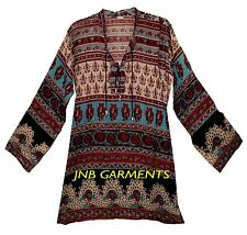 Indian Boho Cotton Ethnic Top Hippie Blouse Retro Gypsy Blusa Tunic Dress Vtg
