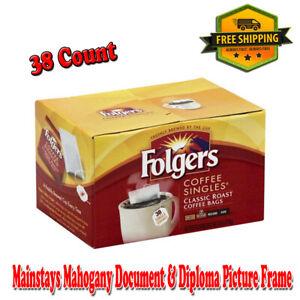Folgers Coffee Singles Classic Roast Coffee Bags, 38 Count, 100% Pure Coffee