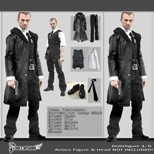 "1/6 Scale Male Black Leather Coat Suit Shoes Clothing Set For 12"" Body Hot Toys"