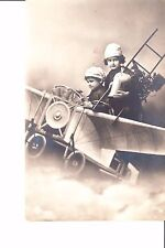 RPPC Christmas Card  @ 1910  Children In Anzani Aeroplane