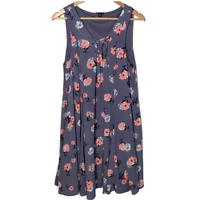 Torrid 00 Womens Sleeveless Shift Dress A Line Swing V Neck Lined Floral Size 10