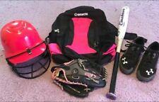 Girls Softball Equipment, Pink Helmet, Glove, Bat, Bag, Cleats LOT