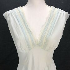 Vintage Women's Nightgown Light Blue Lace Silky V-Neck Semi Sheer Long Flowing