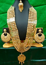"""Indian 22k Gold Plated Weeding 11"""" Long Heavy Necklace Earrings Tikka Ring Set./"""