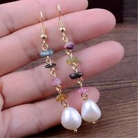 11-13mm White Baroque Pearl Earrings 18k Ear Drop Hook Real Wedding Women