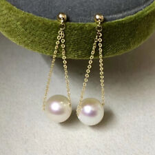 Fashion AAA+ real natural 10-11mm white South Sea Round Pearl  Earrings 14K GOLD