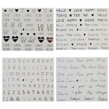 12Sheets/set 3D Nail Art Stickers Decals Silver Smile Face Love Number Pattern