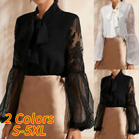 UK Ladies Lace Sheer Sleeve Shirt Floral Blouse Womens Club Party Tops Plus Size