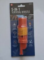 5in1 Camping Survival Whistle Compass Fire Starter Storage Container Mirror