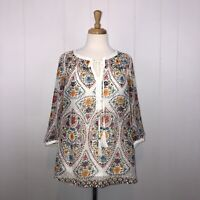 Daniel Rainn Women's Floral Blouse Sheer With Cami 3/4 Sleeve White Size Small
