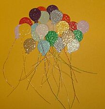 40 Colourful Glitter Balloons Card Toppers (Handmade & self adhesive)