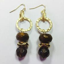"""CHICO'S VINTAGE EARRINGS ~ NEW OLD STOCK ~ GOLD METAL BRONZE FAUX AMBER 2/12"""""""