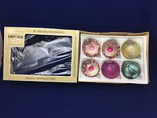 6 Vtg Christmas Glass ornaments Lanissa West Germany DBGM 1950's Max Eckardt