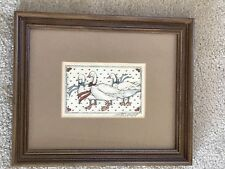 Vintage Wood Framed Country Ducks With Hearts And Bows Glass Covered Picture