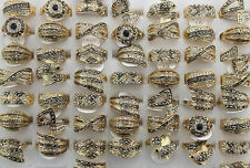 Wholesale Mixed Lots 45pcs Clear Black Rhinestone Gold Plated Lady's Rings EH288